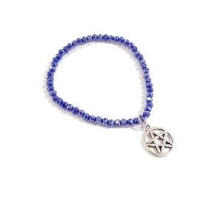 Purple Beaded Pentagram Charm Bracelet